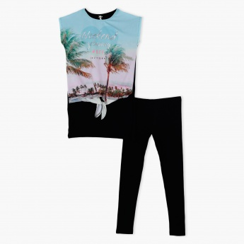 Printed T-Shirt and Pants Set