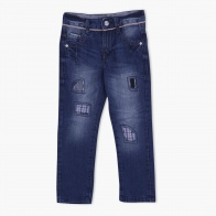 Cotton Jeans with Appliques and Stitch Detailing