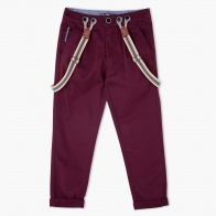 Woven Cotton Trousers with Suspenders