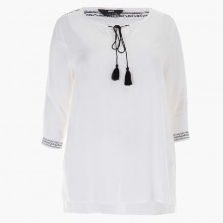 Plus Size Embroidered Blouse with 3/4th Sleeves with Round Neck