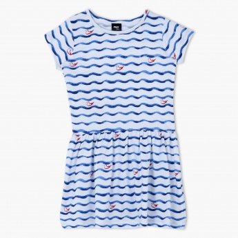 Printed Cotton Dress with Short Sleeves
