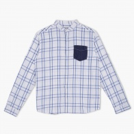 Chequered Shirt with Denim Pocket