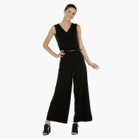 Sleeveless Flared Jumpsuit with V-Neck